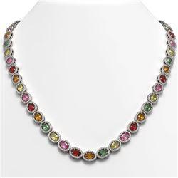 31.96 CTW Multi Color Sapphire & Diamond Halo Necklace 10K White Gold - REF-674W4F - 40448