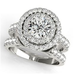 3.42 CTW Certified VS/SI Diamond 2Pc Wedding Set Solitaire Halo 14K White Gold - REF-793H8A - 31223