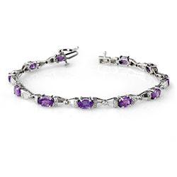 6.11 CTW Tanzanite & Diamond Bracelet 14K White Gold - REF-90A2X - 13397