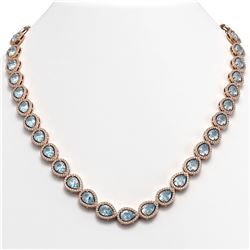 35.13 CTW Sky Topaz & Diamond Halo Necklace 10K Rose Gold - REF-581N6Y - 41073