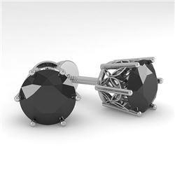 4.0 CTW Black Certified Diamond Stud Solitaire Earrings 18K White Gold - REF-104N8Y - 35856