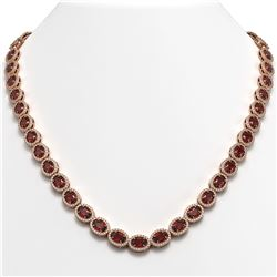 32.82 CTW Garnet & Diamond Halo Necklace 10K Rose Gold - REF-501Y3K - 40446