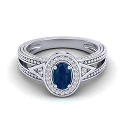 0.83 CTW Sapphire & VS/SI Diamond Solitaire Halo Fashion Ring 10K White Gold - REF-26F8N - 20841