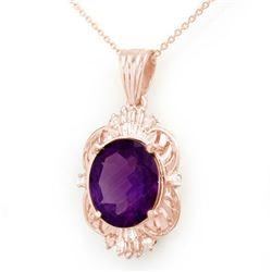 5.23 CTW Amethyst & Diamond Pendant 10K Rose Gold - REF-41M6H - 13984