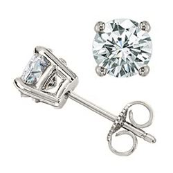 1.0 CTW Certified VS/SI Diamond Solitaire Stud Earrings 18K White Gold - REF-145A3X - 12802