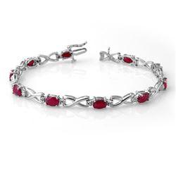 8.50 CTW Ruby & Diamond Bracelet 14K White Gold - REF-80M2H - 14068