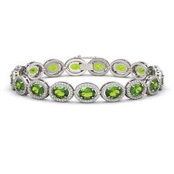 21.13 CTW Peridot & Diamond Halo Bracelet 10K White Gold - REF-286T5M - 40628