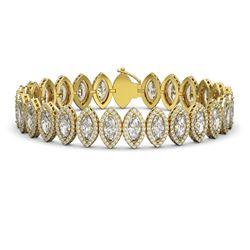20.25 CTW Marquise Diamond Designer Bracelet 18K Yellow Gold - REF-3736N4Y - 42835