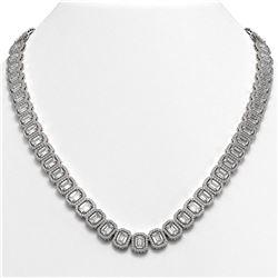 47.12 CTW Emerald Cut Diamond Designer Necklace 18K White Gold - REF-10014W2F - 42839