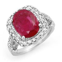 9.40 CTW Ruby & Diamond Ring 14K White Gold - REF-180X2T - 13445