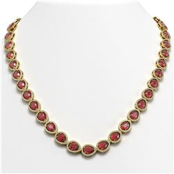 35.13 CTW Tourmaline & Diamond Halo Necklace 10K Yellow Gold - REF-723H3A - 41062