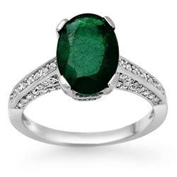 3.25 CTW Emerald & Diamond Ring 10K White Gold - REF-70F9N - 11883