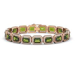 26.38 CTW Tourmaline & Diamond Halo Bracelet 10K Rose Gold - REF-411N3Y - 41400