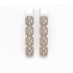 6.08 CTW Emerald Cut Diamond Designer Earrings 18K Rose Gold - REF-1302T9M - 42756