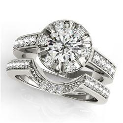 2.35 CTW Certified VS/SI Diamond 2Pc Wedding Set Solitaire Halo 14K White Gold - REF-488A8X - 31292