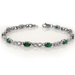3.01 CTW Emerald & Diamond Bracelet 10K White Gold - REF-28K5W - 11322