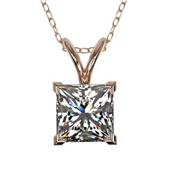 1 CTW Certified VS/SI Quality Princess Diamond Solitaire Necklace 10K Rose Gold - REF-265F3N - 33196