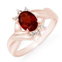 1.04 CTW Garnet & Diamond Ring 14K Rose Gold - REF-20N8Y - 12510