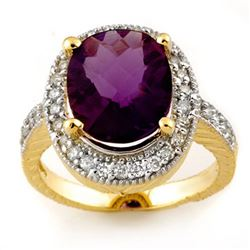 5.50 CTW Amethyst & Diamond Ring 14K Yellow Gold - REF-76N2Y - 11165