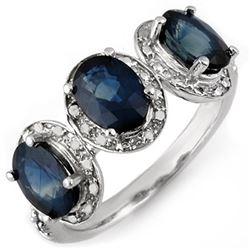 3.08 CTW Blue Sapphire & Diamond Ring 10K White Gold - REF-26F2N - 11167