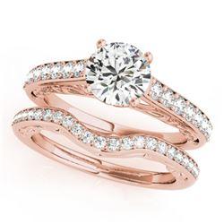 1.36 CTW Certified VS/SI Diamond Solitaire 2Pc Wedding Set 14K Rose Gold - REF-214M9H - 31758