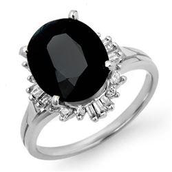 3.20 CTW Blue Sapphire & Diamond Ring 14K White Gold - REF-62N2Y - 13081