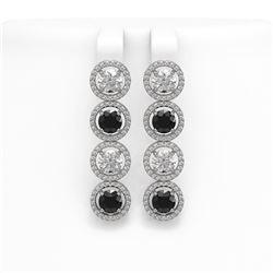 6.22 CTW Black & White Diamond Designer Earrings 18K White Gold - REF-635W6F - 42701