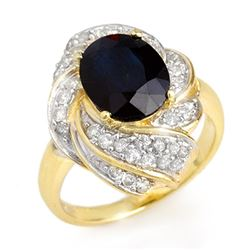 3.85 CTW Blue Sapphire & Diamond Ring 14K Yellow Gold - REF-74N4Y - 13086