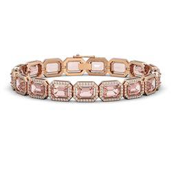22.81 CTW Morganite & Diamond Halo Bracelet 10K Rose Gold - REF-569Y6K - 41391