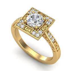 1.1 CTW VS/SI Diamond Art Deco Ring 18K Yellow Gold - REF-180W2F - 37267