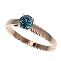 0.54 CTW Certified Intense Blue SI Diamond Solitaire Engagement Ring 10K Rose Gold - REF-50K3W - 364