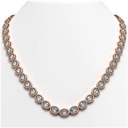 33.25 CTW Sky Topaz & Diamond Halo Necklace 10K Rose Gold - REF-501T5M - 40431