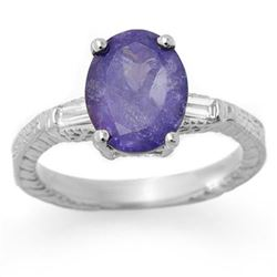 3.70 CTW Tanzanite & Diamond Ring 14K White Gold - REF-116Y8K - 11680