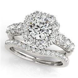 3.16 CTW Certified VS/SI Diamond 2Pc Wedding Set Solitaire Halo 14K White Gold - REF-592M5H - 30726