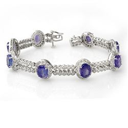 21.25 CTW Tanzanite & Diamond Bracelet 14K White Gold - REF-496M8H - 11745