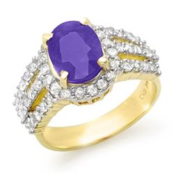 4.70 CTW Tanzanite & Diamond Ring 14K Yellow Gold - REF-152F8N - 14344