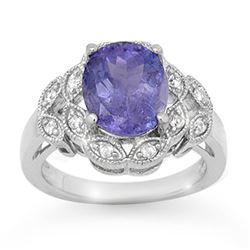 4.25 CTW Tanzanite & Diamond Ring 10K White Gold - REF-110K8W - 14511