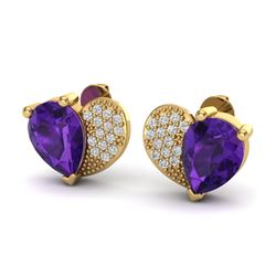 2.50 CTW Amethyst & Micro Pave VS/SI Diamond Earrings 10K Yellow Gold - REF-30F2N - 20065