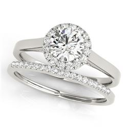 1.16 CTW Certified VS/SI Diamond 2Pc Wedding Set Solitaire Halo 14K White Gold - REF-214N2Y - 30987