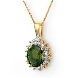 3.45 CTW Green Tourmaline & Diamond Necklace 14K Yellow Gold - REF-78K5W - 11139