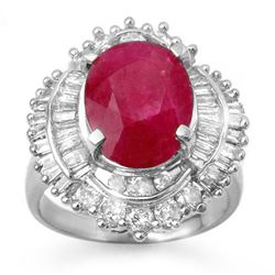 6.15 CTW Ruby & Diamond Ring 18K White Gold - REF-222M8H - 13130