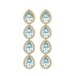 7.41 CTW Aquamarine & Diamond Halo Earrings 10K Yellow Gold - REF-169M6H - 41164