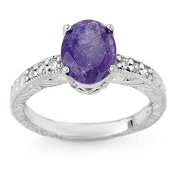 2.68 CTW Tanzanite & Diamond Ring 14K White Gold - REF-61W8F - 13914