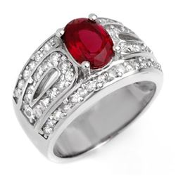 2.54 CTW Rubellite & Diamond Ring 14K White Gold - REF-111K3W - 10621