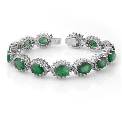 30.05 CTW Emerald & Diamond Bracelet 14K White Gold - REF-618N2Y - 13346