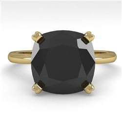 6.0 CTW Cushion Black Diamond Engagement Designer Ring Size 7 14K Yellow Gold - REF-142K2W - 38489