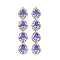 9.01 CTW Tanzanite & Diamond Halo Earrings 10K Rose Gold - REF-193N6Y - 41148