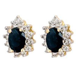 5.46 CTW Blue Sapphire & Diamond Earrings 14K Yellow Gold - REF-85T3M - 12873