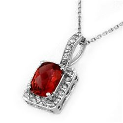 2.25 CTW Pink Tourmaline & Diamond Necklace 14K White Gold - REF-48K4W - 10142
