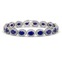 22.89 CTW Sapphire & Diamond Halo Bracelet 10K White Gold - REF-291A5X - 40607